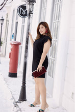 Load image into Gallery viewer, plus size black ruffle neck and sleeve shift dress