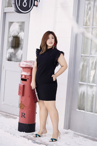 plus size black ruffle neck and sleeve shift dress