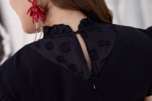 Close up back view of plus size black ruffle neck and sleeve shift dress
