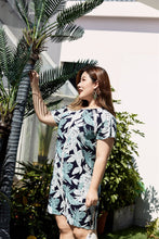 Load image into Gallery viewer, plus size navy and green tropical print raglan sleeve dress with lace detail