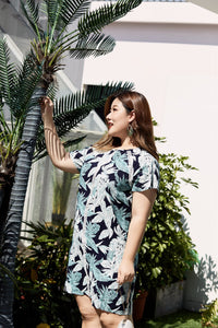 plus size navy and green tropical print raglan sleeve dress with lace detail