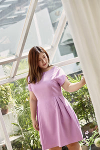 plus size lilac party dress with tulip sleeves and flared skirt