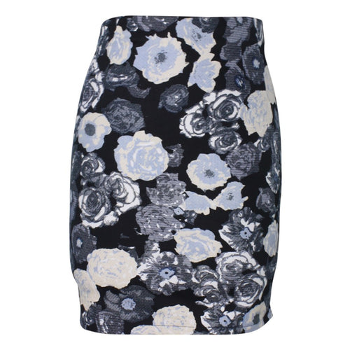 Blue Rose Tapestry Pencil Skirt