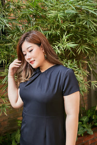 plus size black dress with pleated neck details