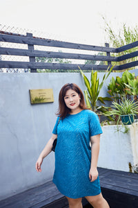 Plus size Japanese cotton teal shift dress with silver print