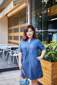 Plus size tencel denim shirt dress with drawstring waist