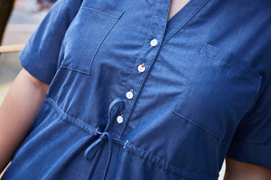 Close-up of Plus size tencel denim shirt dress with drawstring waist