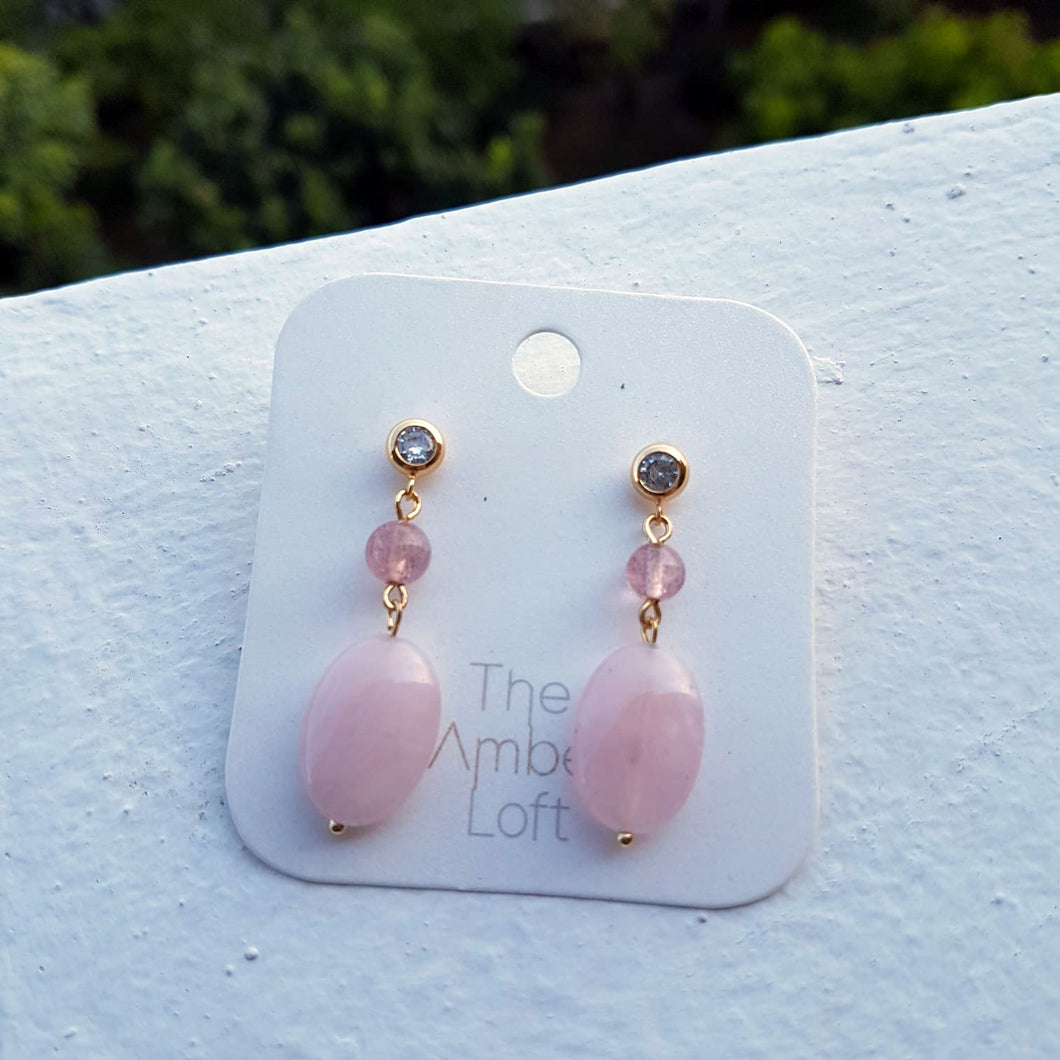 Heart of Rose Gemstone Dangling Earrings