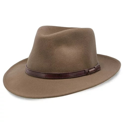Johnny Depp wears a brown fedora with a tall crown and wide brim like this one.