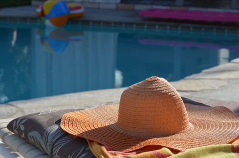 Summer Straw Hat by the Pool
