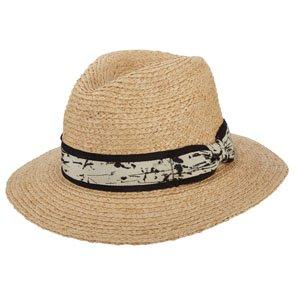 Jackson - Brooklyn Natural Raffia Braid Straw Fedora Hat w/ Stained Ribbon - BKN1524