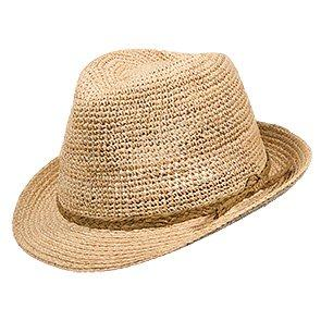 Lucky - Scala LR655 Natural Crocheted Raffia Straw Fedora Hat