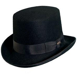 "Lewis - Scala WF568 Black Wool Felt Top Hat - 5"" Tall"