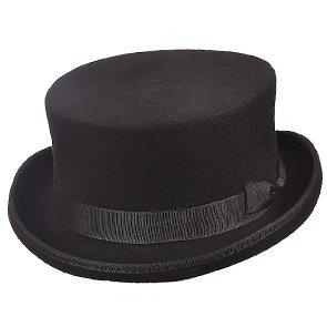 Hugo - Scala WF570 Black Wool Felt SteamPunk Top Hat