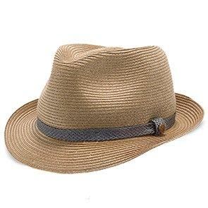 Walrus Hats Paper Braid Straw Fedora Hat w/ Grey Band
