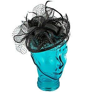 Jeanne Simmons Fascinator Feather - Jeanne Simmons Taupe Sinamay Fascinator Hat - 4396