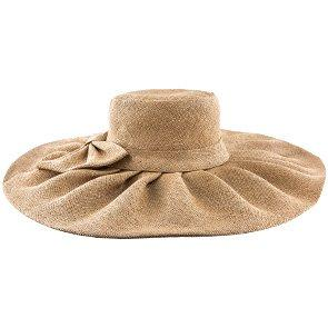 Jeanne Simmons Wide Brim Bow Fancy - Jeanne Simmons Tan Wide Brim Hat - 1999