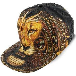 Santana Baseball Aztec - Santana Black Lion Print Flat Bill Snap Back Baseball Cap