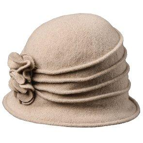 Scala Cloche Charlotte - Scala LW497 Taupe Knit Wool Cloche Hat w/ Side Flower