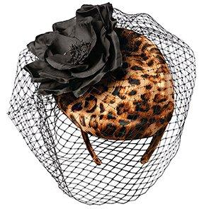 Scala Fascinator Scala LF145 Leopard Pillbox Headband Fascinator Hat w/ Flower Netting