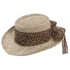 Scala Gambler Sojourner - Scala LS106OS Natual Twisted Seagrass Gambler Hat w/ Animal Print Scarf