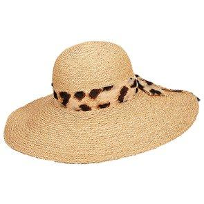 Scala Wide Brim Namibia - Scala LR659 Natural Organic Raffia Braid Wide Brim Hat w/ Animal Print Scarf