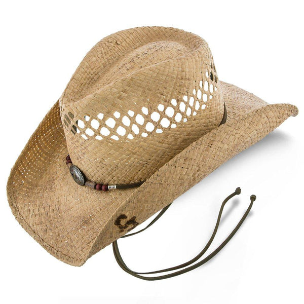 Stetson Cowboy Stoney Creek - Stetson Natural/Brown Stained Raffia Straw Cowboy Hat - SSSTCR