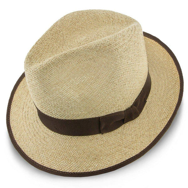 Stetson Fedora Twisted Runabout - Stetson Natural Twisted Panama Fedora Hat (Brown Band) - TSTRUNN