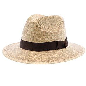 "Sunbody Fedora Explorer, 2 1/2"" Brim - Colored Natural Hand Woven Green Palm Hat"