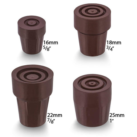Royal Canes Brown Steel Inserted Cane Rubber Tip - Available in 4 Sizes