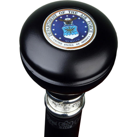 Royal Canes Air Force Knob Walking Stick With Black Beechwood Shaft and Pewter Collar