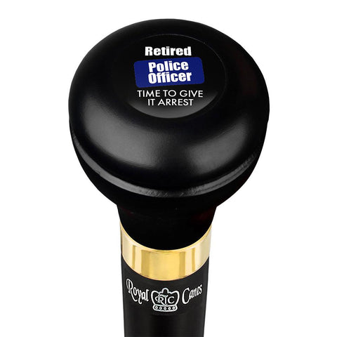 Royal Canes Police Give It Arrest Flask Walking Stick w/ Black Beechwood Shaft & Pewter Collar