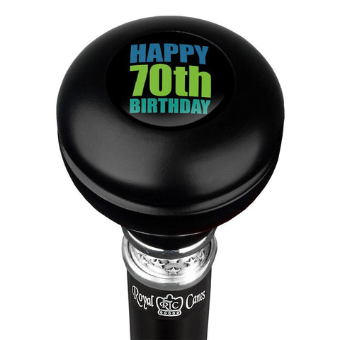 Royal Canes Happy 70th Birthday Knob Walking Stick w/ Black Beechwood Shaft & Pewter Collar