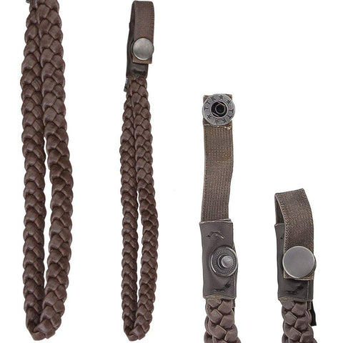 Royal Canes Cane Wrist Strap with Snap - Faux Braided Brown Leather