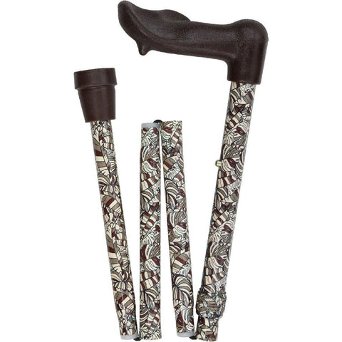 Royal Canes Bahama Leaf Folding Adjustable Palm Grip Walking Cane
