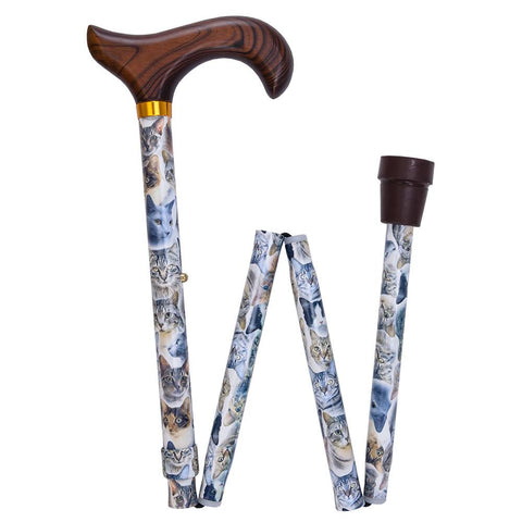 Royal Canes Cats Designer Folding Adjustable Derby Walking Cane