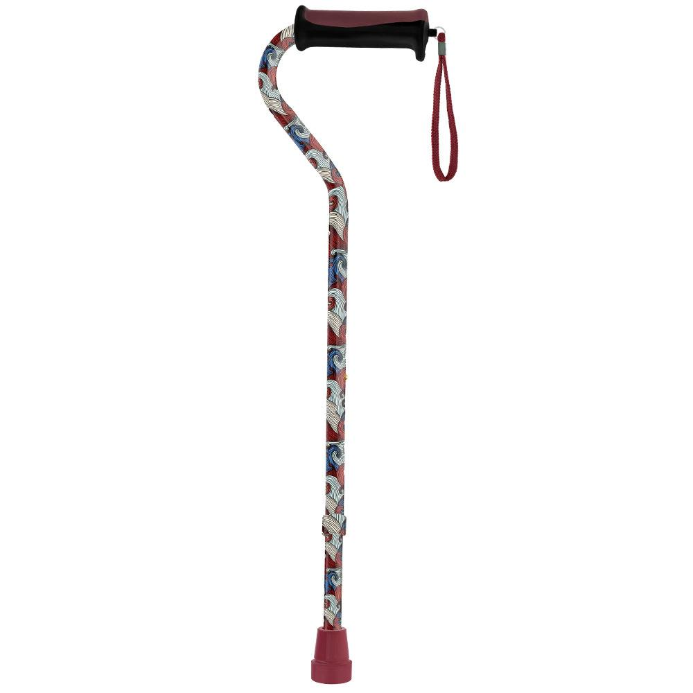Royal Canes Red Majestic Waves Offset Adjustable Walking Cane w/ Comfort Grip 2.0