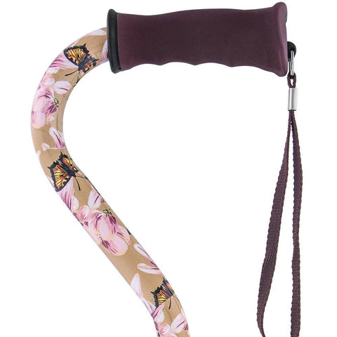 Royal Canes Lily and Butterfly Offset Walking Cane with Comfort Grip