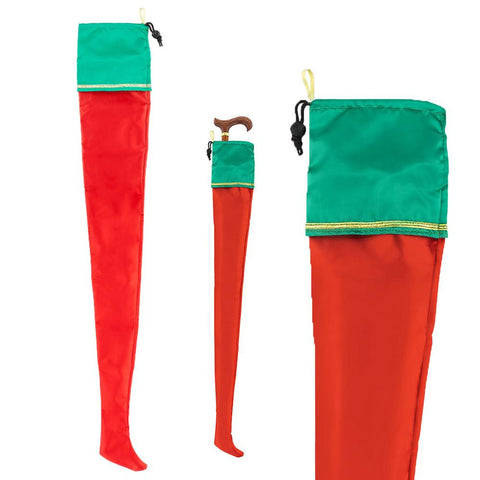 Royal Canes Holiday Gift Wrap - Red Stocking Cane Bag with Drawstring