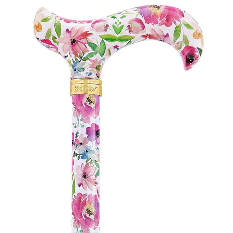 Royal Canes Watercolor Flowers Vivienne May Designer Derby Adjustable Cane