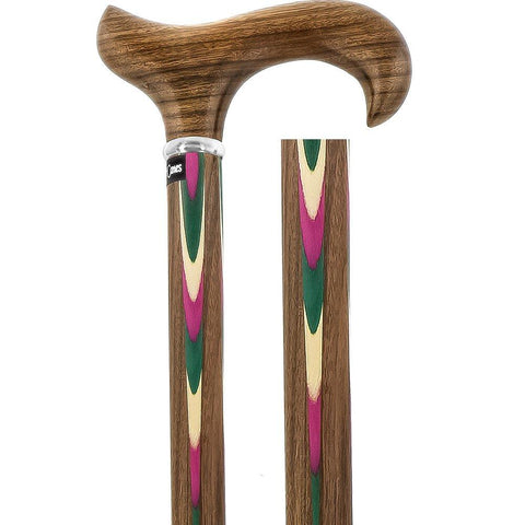 Royal Canes Pink & Green Inlaid Derby Walking Cane With Inlaid Ovangkol Shaft and Silver Collar