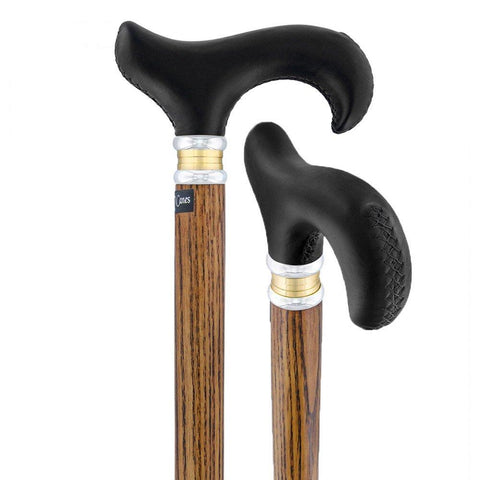 Royal Canes Black Leather Derby Walking Cane With Ash Wood Shaft and Two Tone Collar