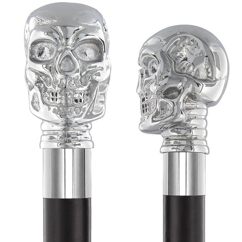 Royal Canes Silver-Plated Chrome Skull Handle Walking Stick With Black Beechwood Shaft