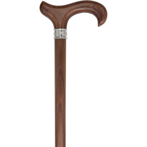 Royal Canes Walnut Derby-Handle Walking Cane with Embossed Steel Collar