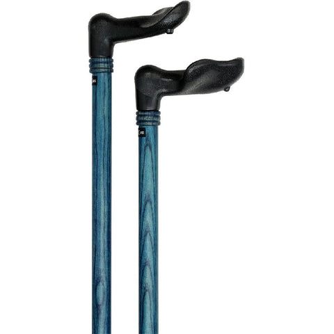 Royal Canes Denim Blue Palm-Grip Walking Cane With Ash Wood Shaft and Wooden Collar