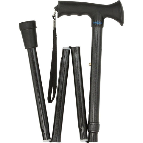 Royal Canes Black Adjustable Comfort Grip Folding Walking Cane