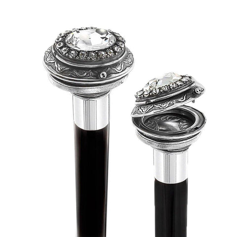 Royal Canes Small Knob Pewter Pillbox walking Stick with Large Swarovski Crystal and Black Beechwood Shaft