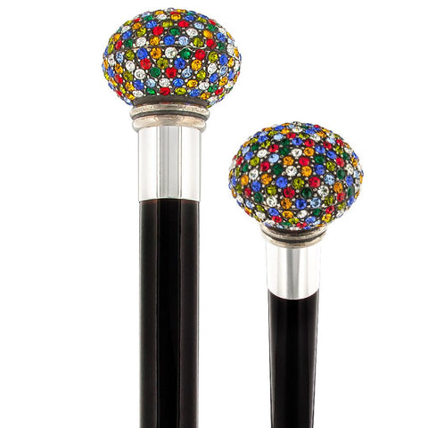 Royal Canes Multi-Colored Swarovski Crystal Encrusted Small Knob Walking Stick with Black Beachwood Shaft