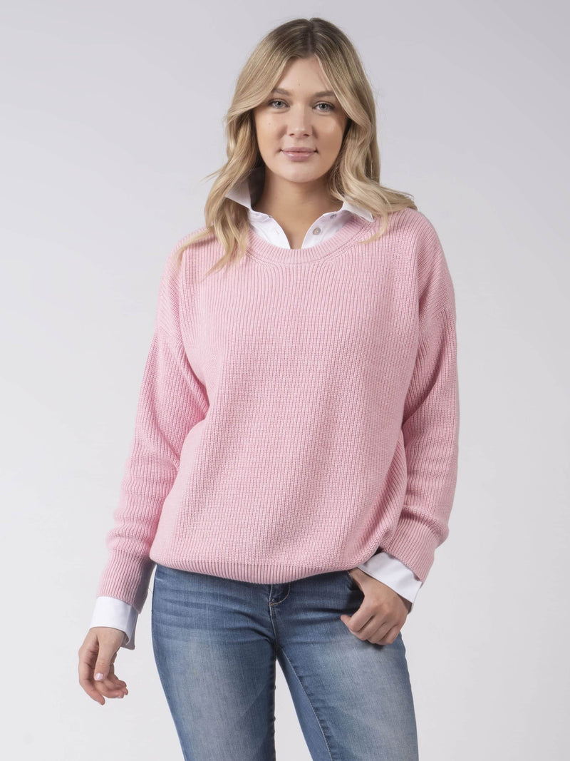 Cotton Knit Jumper in Pink