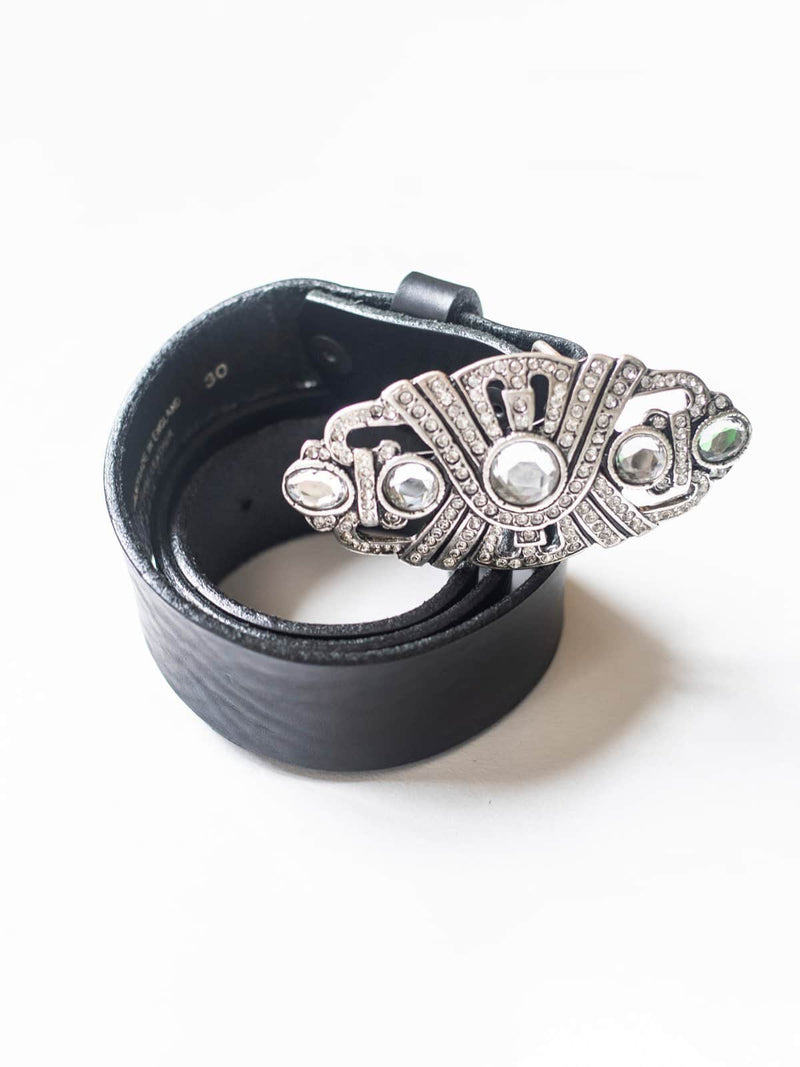 Black Leather Belt with Crystal Deco Buckle